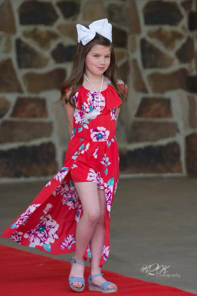 2018 Summer Angel Red Flower Girls Flay Away Maxie Romper with Dream Catcher Necklace - JEN'S KIDS BOUTIQUE