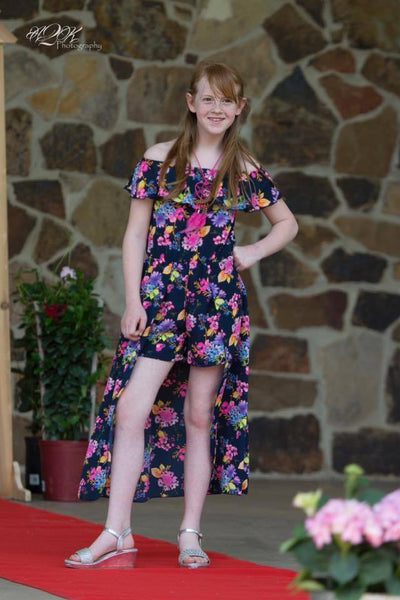 Summer Angel Navy & Pink Flower Girls Flay Away Maxie Romper with Dream Catcher Necklace - JEN'S KIDS BOUTIQUE