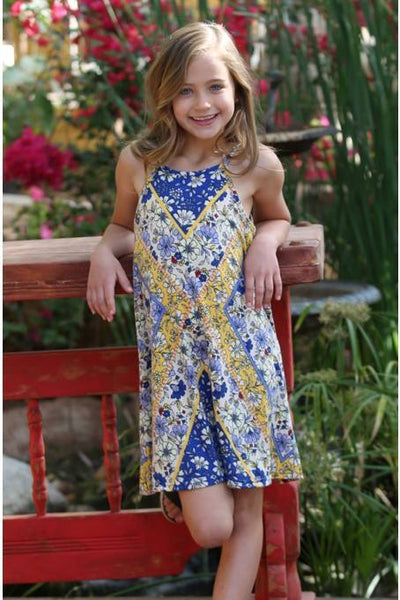 2018 Spring Mommy & Me Kids Printed Blue Flower Dress - JEN'S KIDS BOUTIQUE