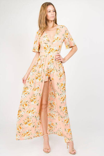 2018 Spring Women's Peach Floral Maxi Romper With Surplus the New Misses Line - JEN'S KIDS BOUTIQUE