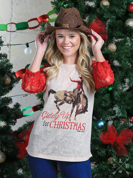 Southern Grace Christmas Womens Giddy Up For Chrstmas Raglan With Red Sleeves CH - JEN'S KIDS BOUTIQUE