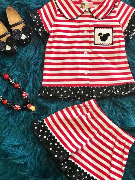 Banana Split Summer Girls Red/White Stripped Disney Minnie Short Set C - JEN'S KIDS BOUTIQUE