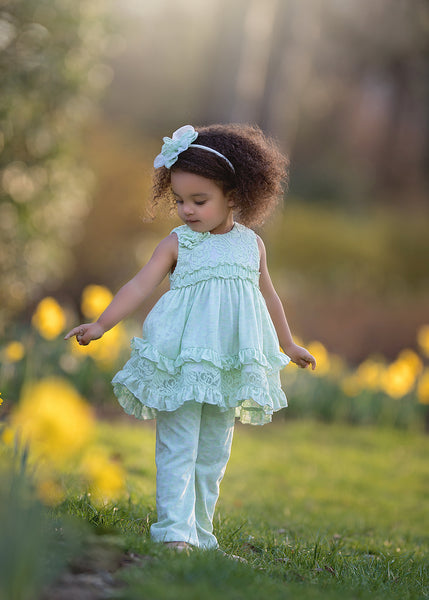 2018 Spring Isobella & Chloe Green Bouquet -2 pc set   Pre-Order - JEN'S KIDS BOUTIQUE