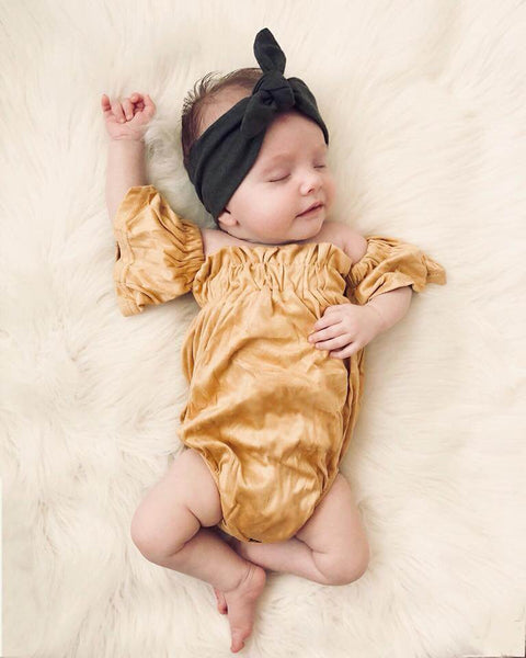 2019 Spring & Summer Infant Flutter Sleeve Romper Mustard - JEN'S KIDS BOUTIQUE