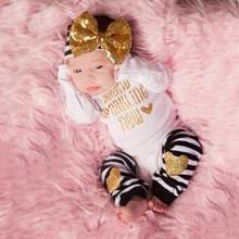 3Pc/set Baby Girls White Black Sequin Bowknot Headwear Infant Rompers Suit+Striped Socks Newborn Clothing Set Long Sleeve Suit