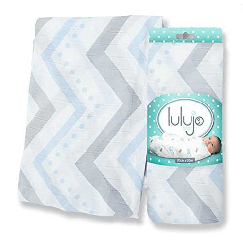 Mary Meyers Lulujo Bamboo Blanket Blue Chevron - JEN'S KIDS BOUTIQUE