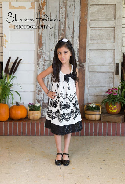 Elegant Fall Ivory/Black Sleeveless Bow On The Side Dress - JEN'S KIDS BOUTIQUE
