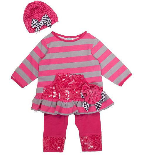 Peaches N Cream Hot Pink Sequin Infant Set with Hat - JEN'S KIDS BOUTIQUE