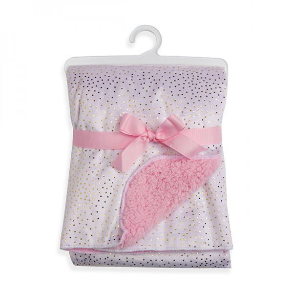 SPARKLE VELOUR AND SHERPA BABY BLANKET - PINK - JEN'S KIDS BOUTIQUE