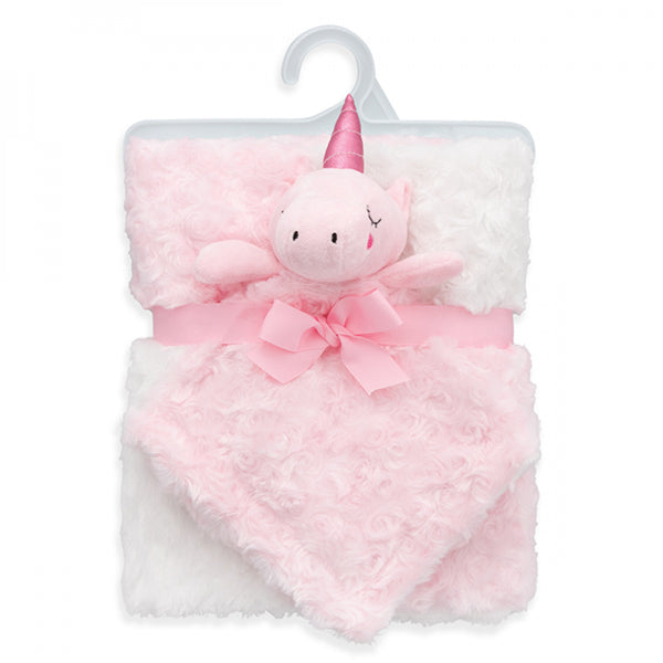 ROSETTE BABY BLANKET WITH LOVEY - Pink Unicorn - JEN'S KIDS BOUTIQUE