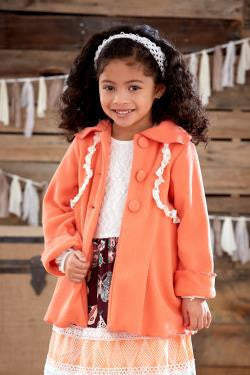 Peaches N Cream Coral Fleece Lace Coat. - JEN'S KIDS BOUTIQUE