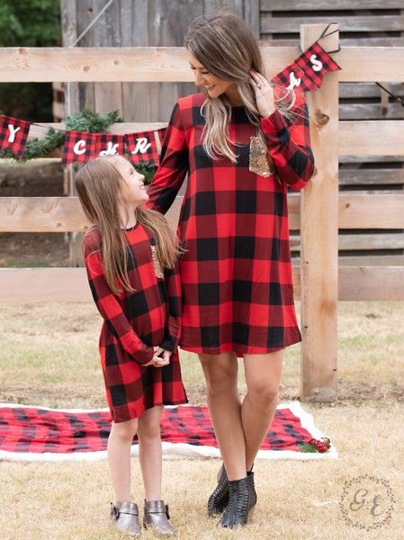 New Fall & Christmas Girls Red Plaid Dress With Sequin Pocket - JEN'S KIDS BOUTIQUE