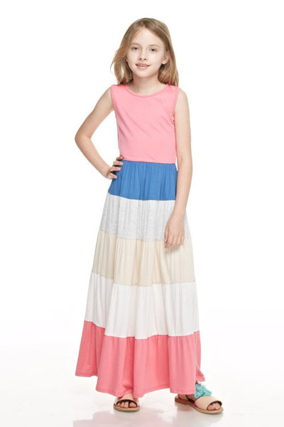 2019 Beautiful Multi Colored Girls Maxi Dress - JEN'S KIDS BOUTIQUE