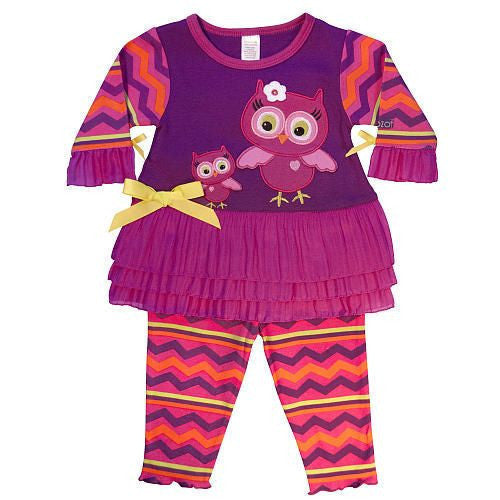 SOZO Girls 2 Piece Owl Embroidered Dress and Legging Set - JEN'S KIDS BOUTIQUE