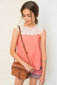 Hayden Spring Coral Lace Tunic Top - JEN'S KIDS BOUTIQUE