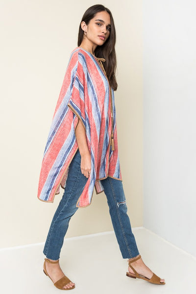 Just For Mommy Women's Striped Poncho - JEN'S KIDS BOUTIQUE