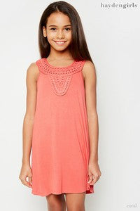 Hayden  Spring Coral Rayon Shift Dress - JEN'S KIDS BOUTIQUE