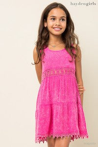 Hayden Spring Magent A-Line Tank Dress - JEN'S KIDS BOUTIQUE