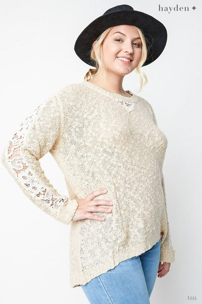 Just For Mommy Women's Tan Plus Size Laced Sleeve Sweater - JEN'S KIDS BOUTIQUE