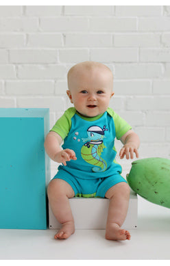 2018 Spring Boys Lemon Loves Lime Ahoy Seahorse Romper - JEN'S KIDS BOUTIQUE