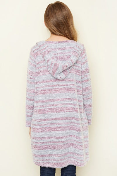 Hayden Fall Fuzzy Hooded Sweater Long Plum - JEN'S KIDS BOUTIQUE
