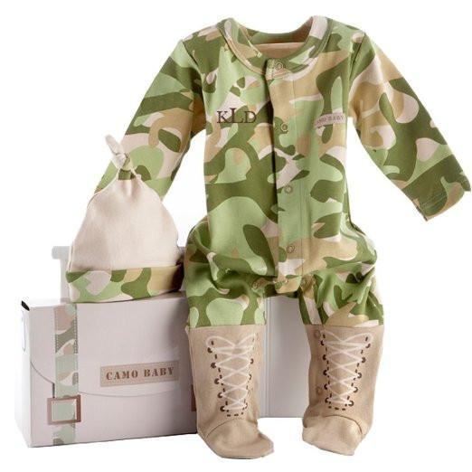 Baby Aspen Baby Camo 2-Piece Layette Set in Backpack Gift Box, Tan, 0-6 Months Color: Tan,... - JEN'S KIDS BOUTIQUE