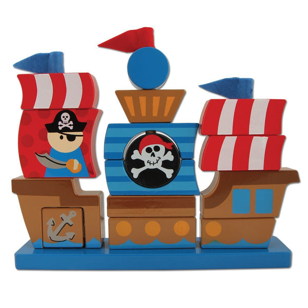 Stephen Joseph Pirate Wooden Stacking Set - JEN'S KIDS BOUTIQUE