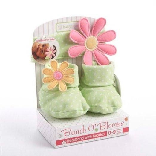 Baby Aspen Baby Girl Gift Set - Flower Headband and Booties 0-9 Months - JEN'S KIDS BOUTIQUE