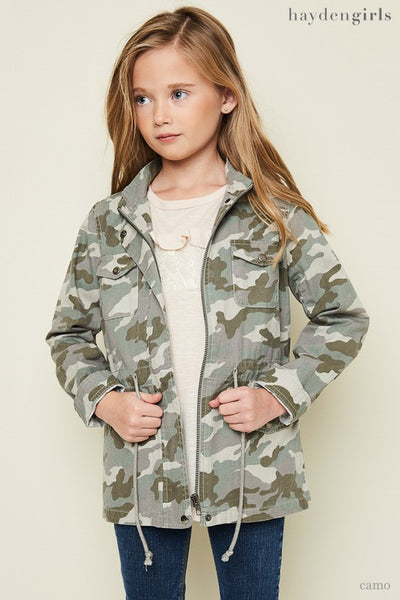 Hayden 2017 Fall Camo Cargo Jacket Green Mix Pre Order - JEN'S KIDS BOUTIQUE