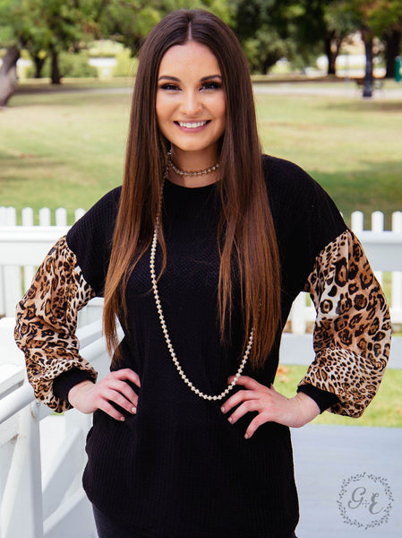 New Fall Women's Black & Leopard Top - JEN'S KIDS BOUTIQUE