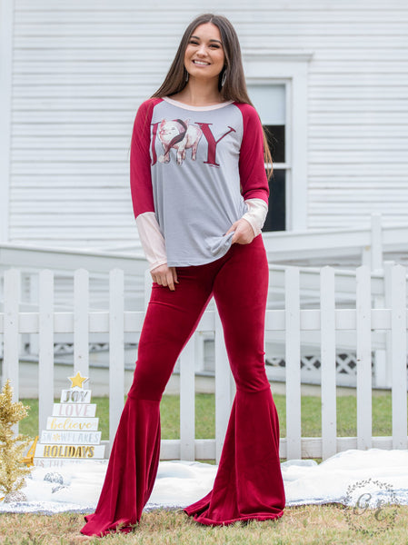 New Fall & Holiday Women's Ruby Velvet Flare Pants - JEN'S KIDS BOUTIQUE
