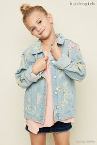 Hayden Spring Flower Denim Jacket - JEN'S KIDS BOUTIQUE
