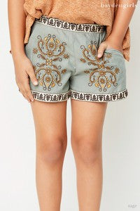 Hayden Spring Sage Embroidered Shorts - JEN'S KIDS BOUTIQUE