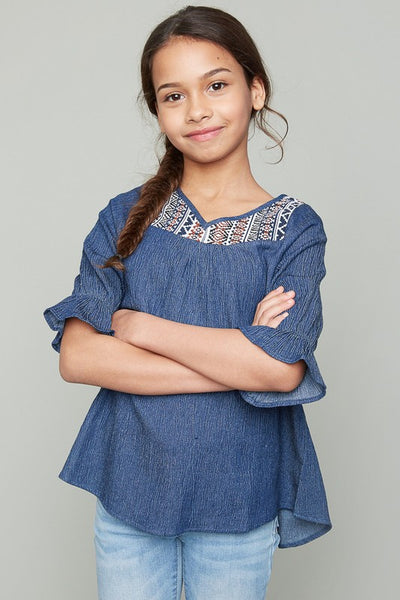 Back To School Little Miss Pre-Teen Hayden Dark Denim Aztec Detail Top - JEN'S KIDS BOUTIQUE