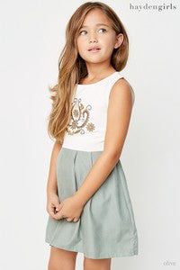 Hayden Spring Two Toned Sage Mini Pleated Dress - JEN'S KIDS BOUTIQUE
