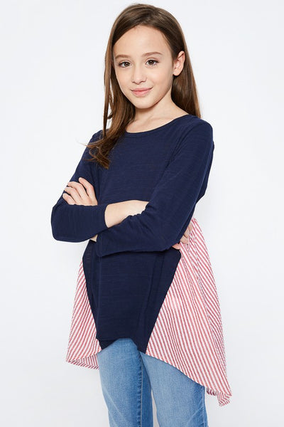 Back To School Little Miss Pre-Teen Hayden Dark Navy Stripped Panel Long Sleeve Shirt - JEN'S KIDS BOUTIQUE