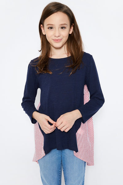 Back To School Little Miss Pre-Teen Hayden Dark Navy Stripped Panel Long Sleeve Shirt C - JEN'S KIDS BOUTIQUE