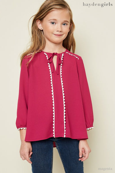Hayden 2017 Fall Lace Neck Tie Tunic Top Magenta - JEN'S KIDS BOUTIQUE