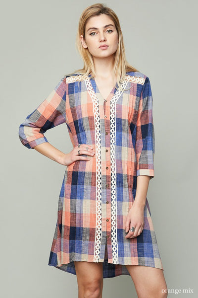 Just For Mommy Women's Orange Plaid Shift Dress - JEN'S KIDS BOUTIQUE