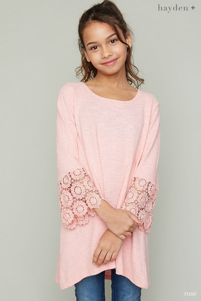 Hayden 2017 Fall Sleeved Detailed Tunic Shirt Pink Pre Order - JEN'S KIDS BOUTIQUE