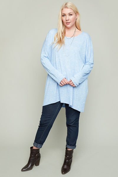 Just For Mommy Women's Blue Plus Size Over sized Basic Knit Tunic Top - JEN'S KIDS BOUTIQUE