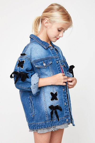 Hayden 2017 Fall Oversize Denim Ribbon Jacket  Pre Order - JEN'S KIDS BOUTIQUE
