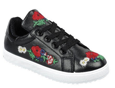 Retro Ready  Awesome Black Rose Kids Sneaker Shoes - JEN'S KIDS BOUTIQUE