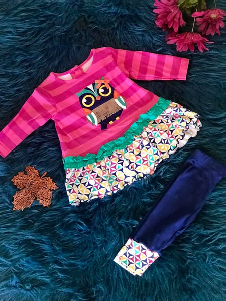 Mollie & Millie By Peaches N Cream Fall Owl Legging Set - JEN'S KIDS BOUTIQUE