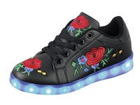 Retros Ready 2017 Awesome Led Black Rose Light Up Shoes - JEN'S KIDS BOUTIQUE