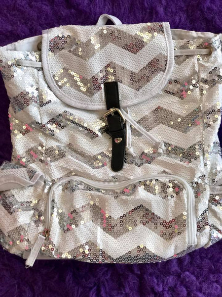 Spirit Sequin Chevron Bling Large Backpack silver - JEN'S KIDS BOUTIQUE