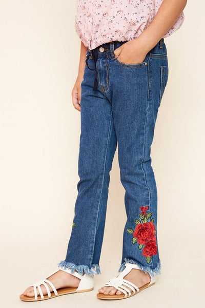 Hayden Fall Rose Embroidered Jeans - JEN'S KIDS BOUTIQUE