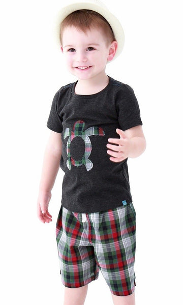 2019 Spring & Summer Boys Short Sleeve Tee & Shorts Set -Turtle - JEN'S KIDS BOUTIQUE