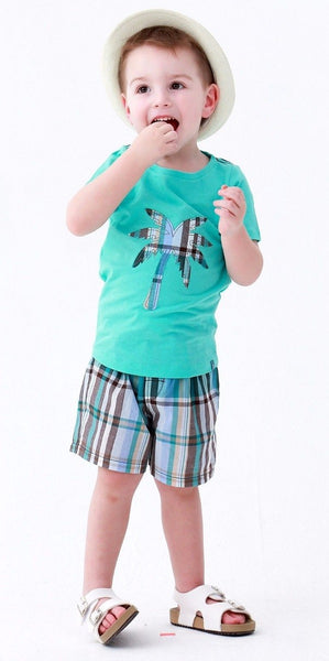2019 Spring & Summer Boys Short Sleeve Tee & Shorts Set -Palm Tree Aqua - JEN'S KIDS BOUTIQUE