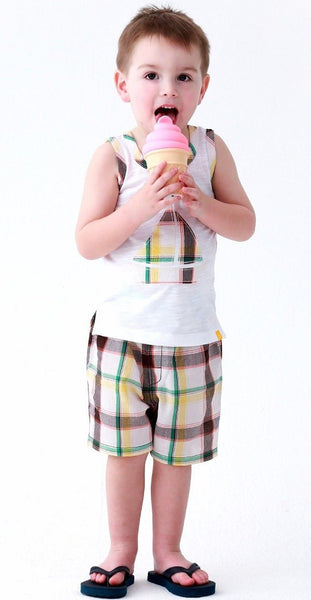 2019 Spring & Summer Boys Short Sleeve Tee & Shorts Set -Sail Boat - JEN'S KIDS BOUTIQUE